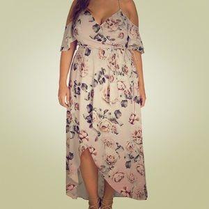 Floral Cold-shoulder Maxi Dress